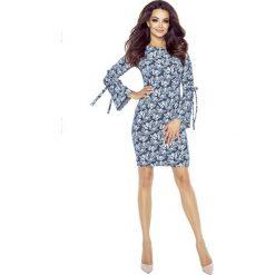 Odzież damska: Granatowa Sukienka Dopasowana z Wiązaniem na Szerokim Rękawie