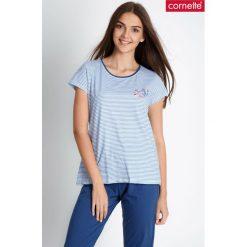 Niebieska piżama w marynarskie paski QUIOSQUE. Niebieskie paski damskie QUIOSQUE, m, z nadrukiem, z bawełny, z krótkim rękawem. W wyprzedaży za 79,99 zł.