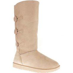 """Kozaki """"Flora"""" w kolorze beżowym. Czarne buty zimowe damskie marki Kazar, z futra, przed kolano, na wysokim obcasie, na koturnie. W wyprzedaży za 163,95 zł."""