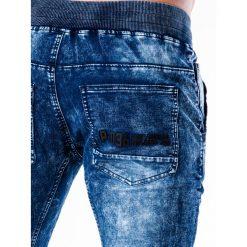 SPODNIE MĘSKIE JEANSOWE JOGGERY P551 - NIEBIESKIE. Niebieskie joggery męskie marki Ombre Clothing, z bawełny. Za 84,00 zł.