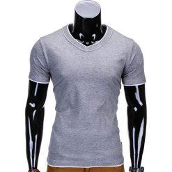 T-SHIRT MĘSKI BEZ NADRUKU S678 - SZARY MELANŻ. Szare t-shirty męskie z nadrukiem Ombre Clothing, m, z klasycznym kołnierzykiem. Za 19,99 zł.