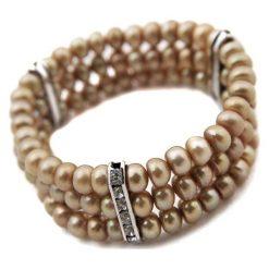 Bransoletki damskie na nogę: Bransoletka z perłami - (D)19 cm