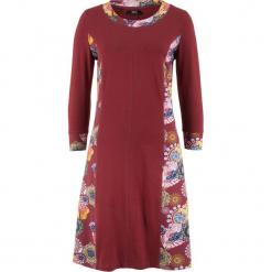Sukienka z rękawami 3/4 bonprix czerwony kasztanowy z nadrukiem. Niebieskie sukienki z falbanami marki bonprix, z nadrukiem. Za 89,99 zł.