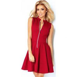 Sukienki: 123-4 sukienka z ekspresem z przodu i kieszonkami - bordo