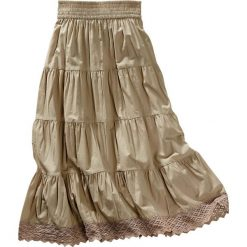 Spódniczka z koronką bonprix piaskowy. Brązowe spódniczki dziewczęce marki bonprix, w koronkowe wzory, z koronki. Za 37,99 zł.