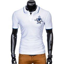 KOSZULKA MĘSKA POLO Z NADRUKIEM S906 - BIAŁA. Białe koszulki polo Ombre Clothing, m, z nadrukiem. Za 59,00 zł.