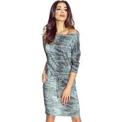 Sukienki asymetryczne: Camille – uniwersalna i bardzo wygodna sukienka szary z przetarciami