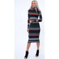Sukienki: Sukienka w paski / rudy MP62090