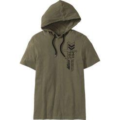 T-shirty męskie: T-shirt z kapturem Slim Fit bonprix ciemnooliwkowy