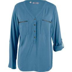 Bluzka z wiskozy, długi rękaw bonprix niebieski dżins. Niebieskie bluzki asymetryczne bonprix, z wiskozy, z długim rękawem. Za 74,99 zł.