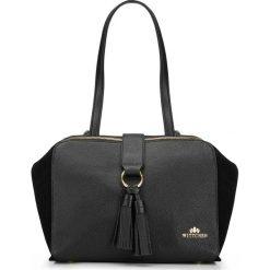 Torebka damska 87-4E-201-1. Czarne torebki klasyczne damskie Wittchen, z frędzlami. Za 459,00 zł.