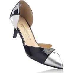 Czółenka bonprix czarno-biało-srebrny. Czarne buty ślubne damskie bonprix. Za 99,99 zł.