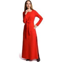 Czerwona Sukienka Dresowa Maxi z Dekoltem Caro z Rozcięciem. Czerwone długie sukienki marki Molly.pl, l, w paski, z bawełny, oversize. Za 149,90 zł.