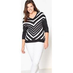 Kardigany damskie: Sweter z dekoltem w serek, w paski