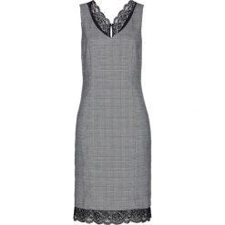 Sukienka ołówkowa w kratę glencheck, z koronką bonprix czarno-biały w kratę. Białe sukienki koronkowe marki bonprix, w koronkowe wzory, z dekoltem w serek, dopasowane. Za 189,99 zł.