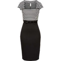 Sukienka biznesowa bonprix czarno-biały. Czarne sukienki hiszpanki bonprix, do pracy, biznesowe, z krótkim rękawem, mini. Za 149,99 zł.