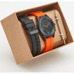 Zegarki męskie: Zegarek z wymiennymi paskami – Pomarańczo