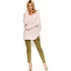 Swetry klasyczne damskie: Różowy Sweter Długi Tunika z Rozciętymi Bokami