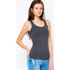 Bluzki damskie: Bluzka basic na szerokich ramiączkach antracyt
