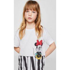 Mango Kids - Top dziecięcy Minnihem 110-164 cm. Szare bluzki dziewczęce Mango Kids, z nadrukiem, z bawełny, z okrągłym kołnierzem. W wyprzedaży za 39,90 zł.
