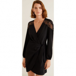 Mango - Sukienka Sugar. Czarne długie sukienki marki Mango, na co dzień, l, z aplikacjami, z koronki, casualowe, z długim rękawem. Za 269,90 zł.