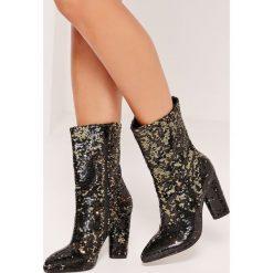 Missguided - Botki. Szare buty zimowe damskie marki Missguided, z materiału, na obcasie. W wyprzedaży za 99,90 zł.