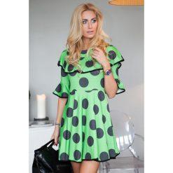 Sukienki: Sukienka w groszki zielona