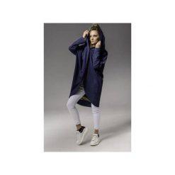 Płaszcz z elementem graficznym. Niebieskie płaszcze damskie Skalny, w kolorowe wzory, z jeansu, eleganckie. Za 599,00 zł.