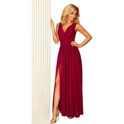 Bordowa Sukienka Wieczorowa Maxi z Dekoltem V. Czerwone długie sukienki marki Molly.pl, na studniówkę, l, wizytowe, z długim rękawem, dopasowane. Za 299,90 zł.
