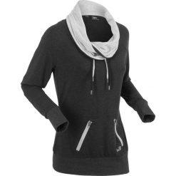 Bluzy rozpinane damskie: Bluza z długim rękawem bonprix czarny melanż