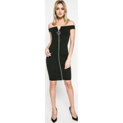 Missguided - Sukienka. Szare sukienki mini marki Missguided, na co dzień, z elastanu, casualowe, z dekoltem w łódkę, dopasowane. W wyprzedaży za 49,90 zł.