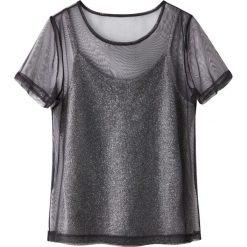 Bluzki damskie: Koszulka 2 w 1 rękawy z siateczki z koszulka na ramiączkach z metalizowaną nicią
