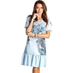 Sukienki hiszpanki: Sukienka w kolorze błękitnym ze wzorem