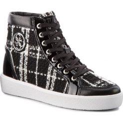 Sneakersy GUESS - FLACE3 FAB12 WHITBL. Czarne sneakersy damskie marki Guess, z materiału. W wyprzedaży za 499,00 zł.