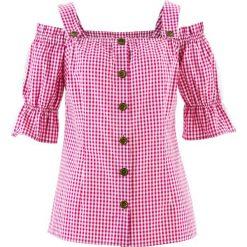Bluzka w stylu ludowym, krótki rękaw bonprix fuksja - biały w kratę. Czerwone bluzki damskie marki bonprix, z krótkim rękawem. Za 109,99 zł.