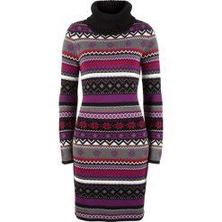 Sukienka dzianinowa żakardowa bonprix czarny wzorzysty. Czarne sukienki dzianinowe bonprix. Za 89,99 zł.