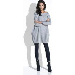 Swetry klasyczne damskie: Szary Długi Sweter Bombka z Kieszeniami