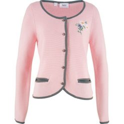 Sweter rozpinany w ludowym stylu, z haftem, długi rękaw bonprix dymny szary - pastelowy jasnoróżowy. Niebieskie kardigany damskie marki bonprix, z nadrukiem. Za 59,99 zł.
