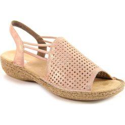 Rzymianki damskie: Sandały damskie skórzane komfortowe różowe Rieker 65845-31