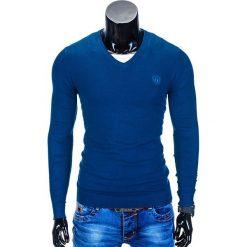 SWETER MĘSKI E74 - CIEMNY NIEBIESKI. Niebieskie swetry klasyczne męskie Ombre Clothing, m, z bawełny, z dekoltem w serek. Za 49,00 zł.