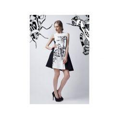 Czarno-biała sukienka. Białe sukienki na komunię marki Luiza kimak, m, z nadrukiem, z bawełny. Za 499,00 zł.