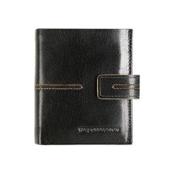 Portfele męskie: Skórzany portfel w kolrze czarnym – (S)10 x (W)9 cm