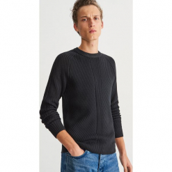 Sweter z prążkowanej dzianiny - Czarny. Czarne swetry klasyczne męskie Reserved, l, z dzianiny. Za 139,99 zł.