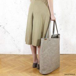 Mega Shopper torba beżowa na zamek. Brązowe shopper bag damskie Pakamera. Za 170,00 zł.
