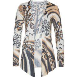 Kardigany damskie: Sweter rozpinany z domieszką kaszmiru bonprix biel wełny - czarny