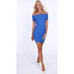 Sukienka dopasowana carmen chabrowa 22444. Niebieskie sukienki marki bonprix, na lato, w kwiaty, z asymetrycznym kołnierzem. Za 54,00 zł.