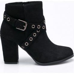 Corina - Botki. Czarne buty zimowe damskie Corina, z materiału, na obcasie. W wyprzedaży za 79,90 zł.