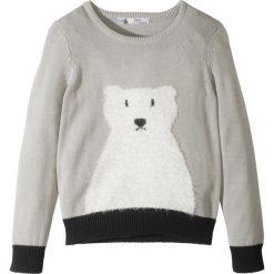 Sweter z motywem niedźwiedzia polarnego bonprix jasnoszary melanż - czarny. Szare swetry dziewczęce marki bonprix, na zimę, z dzianiny. Za 37,99 zł.