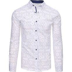 Koszule męskie na spinki: Biała koszula męska we wzory z długim rękawem (dx1455)