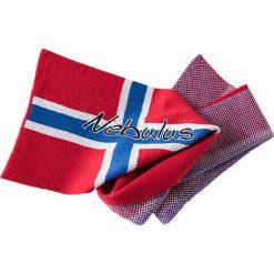 """Szal """"Terra"""" w kolorze czerwono-niebiesko-białym - 190 x 27 cm. Białe szaliki damskie Nebulus, z dzianiny. W wyprzedaży za 86,95 zł."""